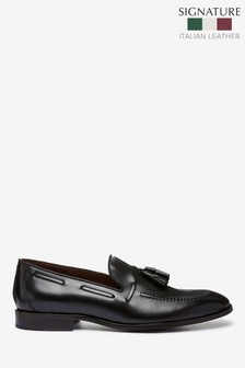 Black Signature Italian Leather Tassel Loafers