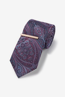 Purple Paisley Regular Pattern Tie With Tie Clip