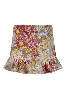 Baby Girls Pink Fuchsia & Gold Cotton Skirt