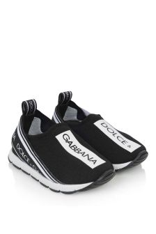 Girls Black/White Branded Slip-On Trainers