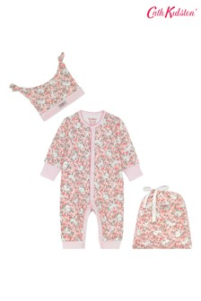 Cath Kidston® Pink Jumping Bunnies Footless Sleepsuit, Hat And Bag