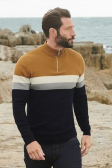 Tan/Navy Colourblock Zip Neck Jumper