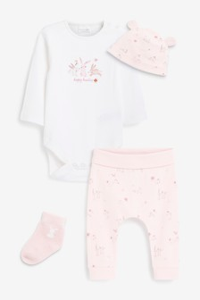 Pink/White 4 Piece Bunny Set (0-18mths)