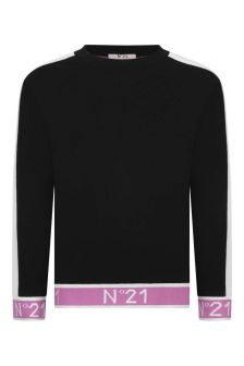 Girls Black & Fuxia Cotton Sweatshirt