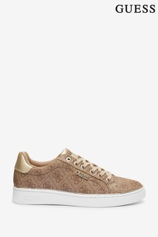 Guess Beige Beckie Leather Trainers
