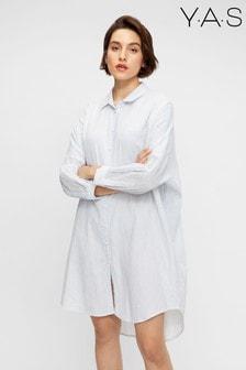 Y.A.S Sustainable Organic Cotton White Stripe Famira Shirt Dress