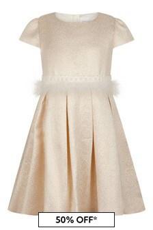 Girls Gold Jacquard Dress