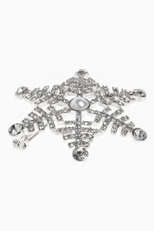 Silver Tone Sparkle Snowflake Brooch