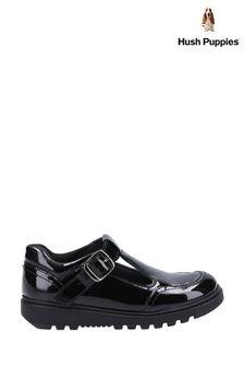 Hush Puppies Black Kerry Patent Junior School Shoes
