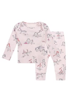 Baby Girls Pink Jersey Horses Doodle Tracksuit