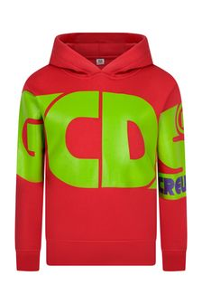 Kids Red Cotton Logo Hoody