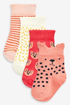 Red/Orange 4 Pack Character Socks (Younger)