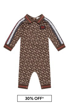 Baby Boys Brown Bridle Cotton Polo Romper