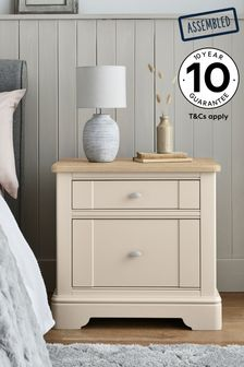 Stone Hampton 2 Drawer Wide Bedside Table
