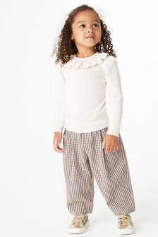 Ecru Frill Neck Knitted Top (3mths-7yrs)