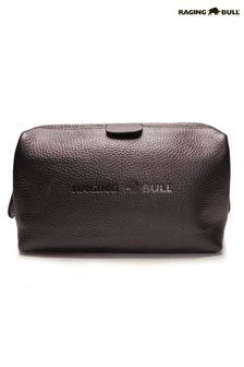 Raging Bull Brown Leather Wash Bag