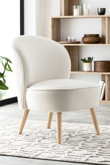 Soft Cosy Boucle Ivory Natural Zola Accent Chair With Light Legs