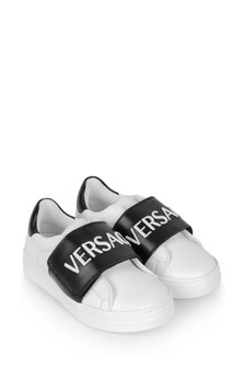 Boys White/Black Leather Trainers