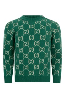 Baby Boys Green Wool Knitted GG Jumper