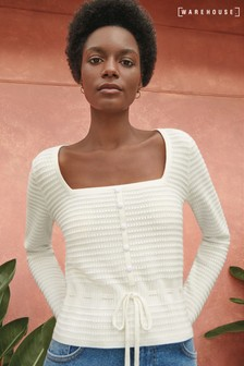 Warehouse Textured Square Neck Jumper