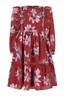 Girls Red Flower Print Long Sleeve Dress