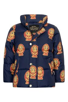 Kids Navy Flower Padded Jacket