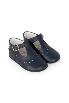 Andanines Baby Girls Navy Leather Shoes
