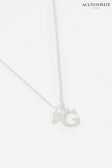 Accessorize Sterling Silver Heart Initial Necklace - G