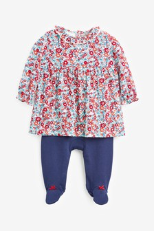 Navy Smart Floral 2-In-1 Sleepsuit (0mths-2yrs)