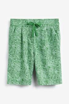 Green Palm Print Linen Blend Knee Shorts