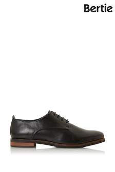 Bertie Farley Black Leather Soft Lace-Up Shoes