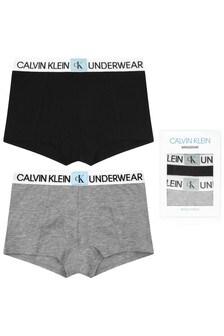 Boys Black/Grey Cotton Boxer Shorts Two Pack