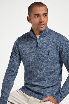 Blue Marl Zip Neck Jumper