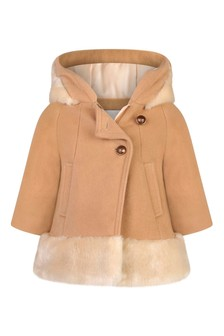 Baby Girls Beige Wool & Faux Fur Coat