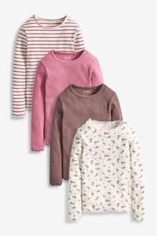 Pink 4 Pack Ditsy Long Sleeve Ribbed Tops (3-16yrs)