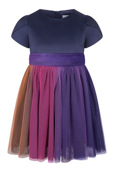 Girls Navy Satin & Tulle Dress