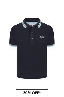 قميص بولو قطنأزرق داكن أولادي منBOSS