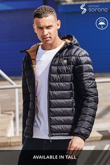 Navy Shower Resistant Quilted Hooded Jacket With DuPont Sorona® Insulation