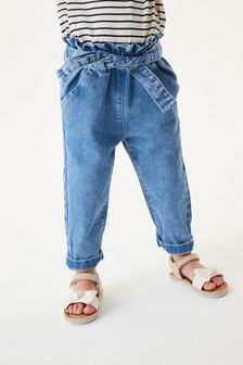 Denim Bright Blue Pull On Tie Belt Jeans (3mths-7yrs)