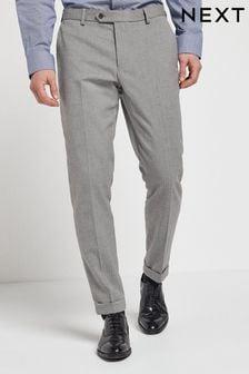 Grey Slim Fit Herringbone Suit: Trousers
