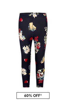 Girls Navy Floral Cotton Leggings