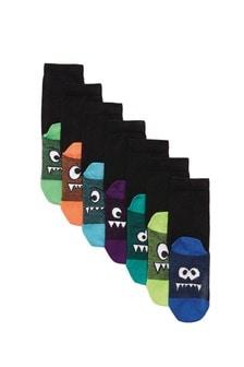 Black 7 Pack Cotton Rich Monster Socks (Older)