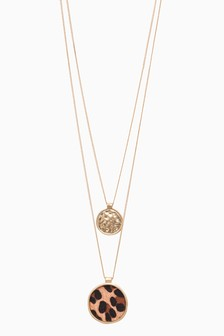 Gold Tone Animal Print Two Layer Necklace
