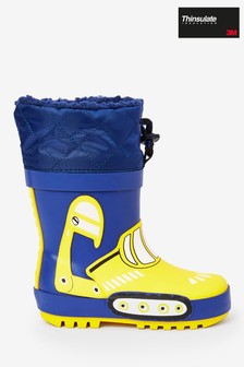 Navy Digger Warm Lined Cuff Wellies (Younger)