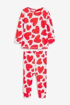 Red/Ecru Hearts Soft Touch Cotton Snuggle Pyjamas (9mths-12yrs)