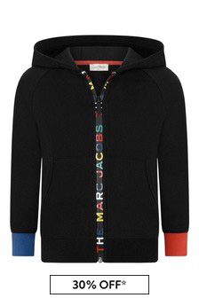 Boys Black Cotton Logo Zip Up Top