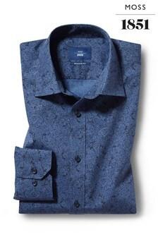 Moss 1851 Regular Fit Navy Single Cuff Paisley Print Shirt