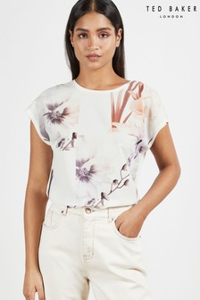 Ted Baker White Lylie Vanilla Woven Front T-Shirt