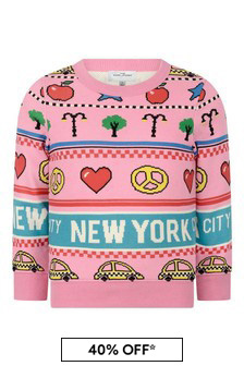 Girls Pink New York City Cotton Sweater