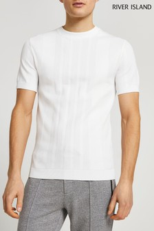River Island White Knitted T-Shirt